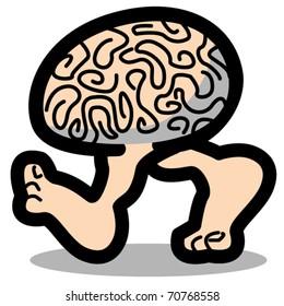 Funny, cartoon brain walking or running on two legs showing bare feet.