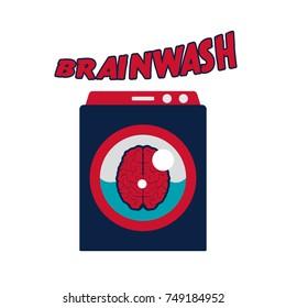 funny cartoon brainwash illustration. brain in washing machine