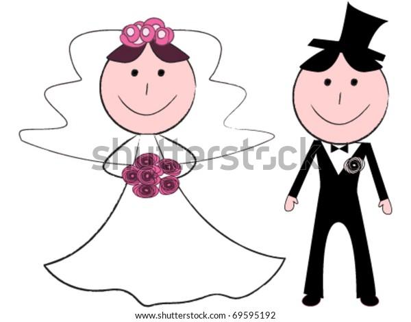 Funny cartoon bride and groom
