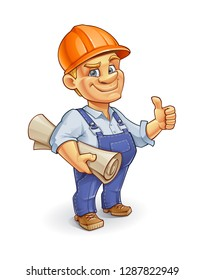 Funny Cartoon Builder Wearing an Orange Construction Hard Hat and Holding His Blueprint.