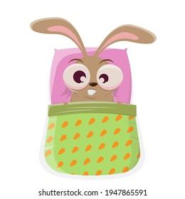 funny cartoon bunny in bed is sleepless