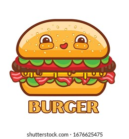 funny cartoon Burger with cutlet. bacon, lettuce, tomato,cheese and a bun with sesame seeds