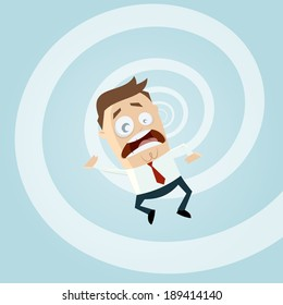 funny cartoon businessman is falling down