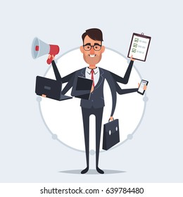 Funny Cartoon Businessman with a Lot of Hands Holding Documents, Phone, Case, Laptop and Mouthpiece. Vector Illustration