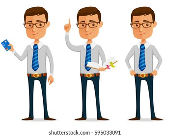 funny cartoon businessman holding a credit card or book