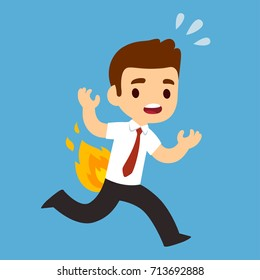 Funny cartoon businessman running with pants on fire. Burning man cute vector illustration.