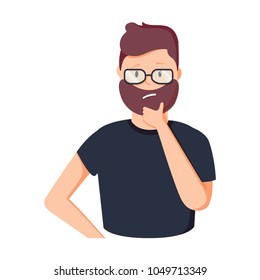 Funny cartoon businessman thinking. Person in glasses having gesture vector illustration. Creative man brainstorming, manager thinking about investing. Human emotion trendy flat style
