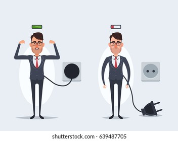 Funny Cartoon Businessmen Charging (Cheerful and Tired). Vector Illustration