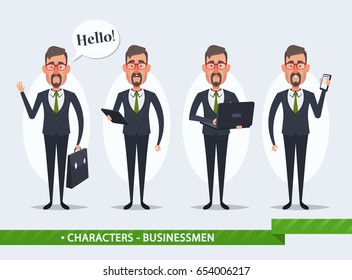 Funny Cartoon Businessmen Holding Electronic Devices. Vector Set
