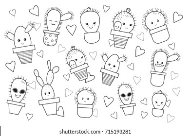 Funny cartoon cactus for kids, coloring book. Doodle style. Vector illustration.