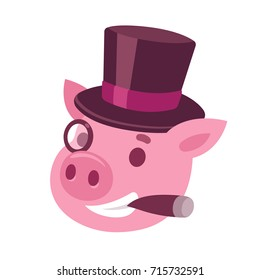 Funny cartoon capitalist pig caricature. Rich piggy boss with cigar, monocle and top hat. Cute vector illustration.
