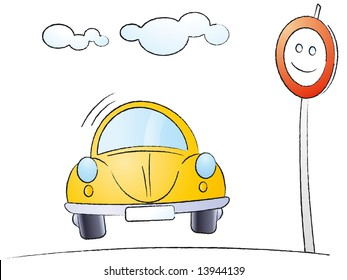 Funny cartoon car isolated on white background - Vector