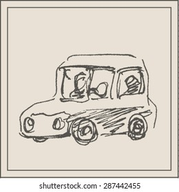 Funny cartoon car vehicle, in engraving etching sketch hand drawing style, for transport  and  transportation business design
