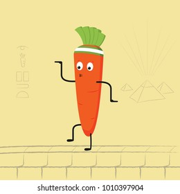 Funny cartoon carrot dancing