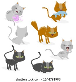 funny cartoon cat collection