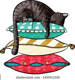 Funny cartoon cat and little mouse are sleeping on a pile of colored pillows isolated vector illustration eps 10 Happy animals Print to greeting card, poster, banner, t-shirt