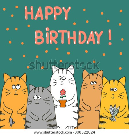 Funny Cartoon Cats Happy Birthday Card Template Hand Drawn Vector Illustration