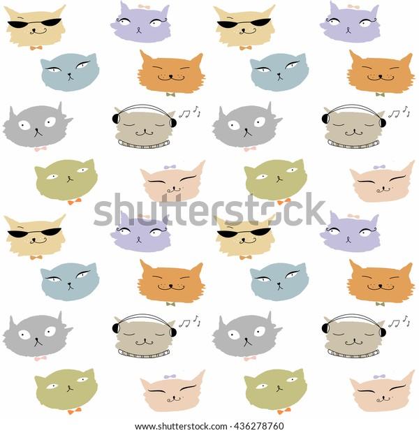 Vector De Stock Libre De Regalías Sobre Funny Cartoon Cats