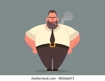 Funny Cartoon Character. Angry Boss Smoking Cigarette. Vector Illustration