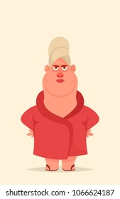 Funny Cartoon Character. Angry Wife. Vector Illustration