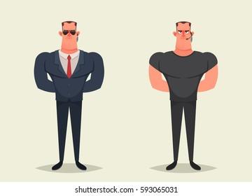 Funny Cartoon Character - Bodyguard (Security). Vector Illustration