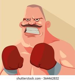 funny cartoon character, boxer, boxing champion, vector illustration