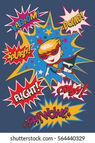 Funny cartoon character - a boy-superhero. Elements of superheroes.