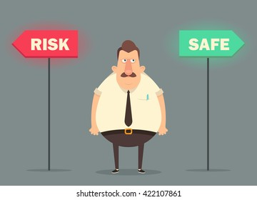 Funny Cartoon Character. Confused Office Worker Choosing Risk or Safe. Vector Illustration