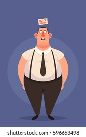 """Funny Cartoon Character. Confused Office Worker with """"Out of Order"""" Sign Inside His Head. Vector Illustration"""
