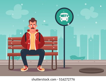 Funny Cartoon Character. Cool Hipster Sitting on Bench and Waiting for Bus. Vector Illustration