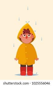 Funny Cartoon Character. Cute Boy in Yellow Raincoat Standing Under the Rain. Vector Illustration