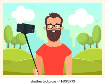 Funny Cartoon Character Doing Selfie. Colorful Landscape on Background. Vector Illustration