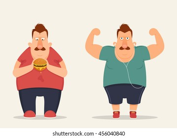 Funny Cartoon Character Eating Burger and Doing Exercise. Healthy and Unhealthy Lifestyle. Vector Illustration