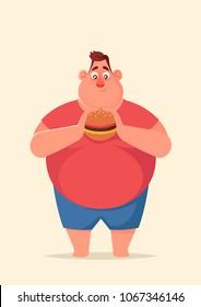 Funny Cartoon Character. Fat man with Burger. Vector Illustration
