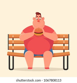 Funny Cartoon character. Fat Man Sitting on Bench and Eating Burger. Vector Illustration