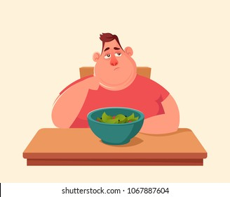Funny Cartoon Character. Fat Man Doesn't Want to Eat Salad. Vector Illustration