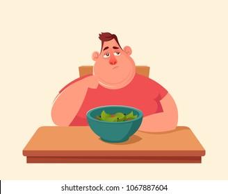 Funny Cartoon Character. Fat Man Don't Want to Eat Salad. Vector Illustration