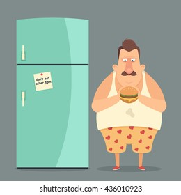 Funny Cartoon Character. Fat Man Standing Near the Fridge and Eating a Burger. Vector Illustration