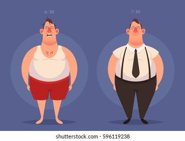 Funny Cartoon Character. Fat Man: Sleepy and Ready to Work. Vector Illustration