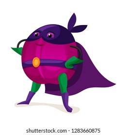Funny cartoon character fruit in superhero costume. Concept of healthy diet, natural vegetarian organic products. Cute food fruit plum in cloak of super hero and purple mask. Vector illustration.