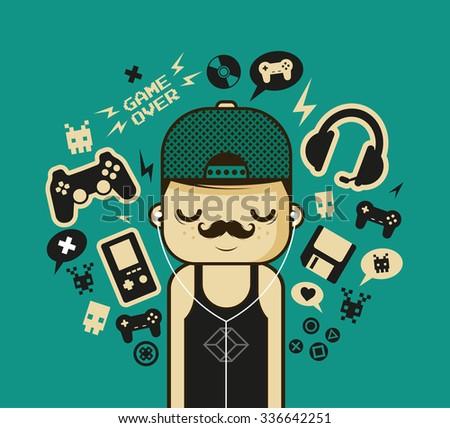 Funny Cartoon Character Gaming Signs Symbols Stock Vector Royalty