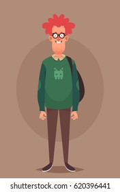 Funny Cartoon Character. Ginger Nerd. Vector Illustration