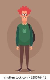 Funny Cartoon Character. Ginger Nerd. Vector Illustration