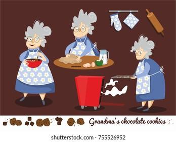 Funny cartoon character of grandma preparing cookies