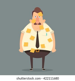 Funny Cartoon Character. Grumpy Office Worker with a Lot of Short Notes for Urgent Work. Vector Illustration
