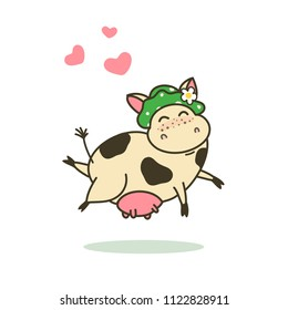 Funny cartoon character, happy cow vector illustrarion, logo template. Cute jumping kine. Good for children's design.