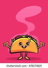 Funny Cartoon Character. Happy Taco. Colorful Vector Illustration