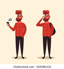 Funny Cartoon Character. Hipster with Phone. Vector Illustration