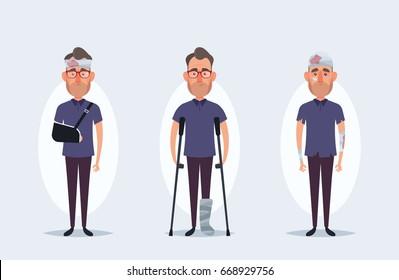 Funny Cartoon Character - Injured Man. Vector Set