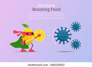 Funny cartoon character of lemon superhero fight against outbreak viruses and bacteria. Power of immune boosting food concept to fight disease. vector illustration